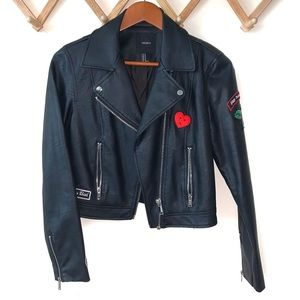 Faux Leather Patched Moto Jacket